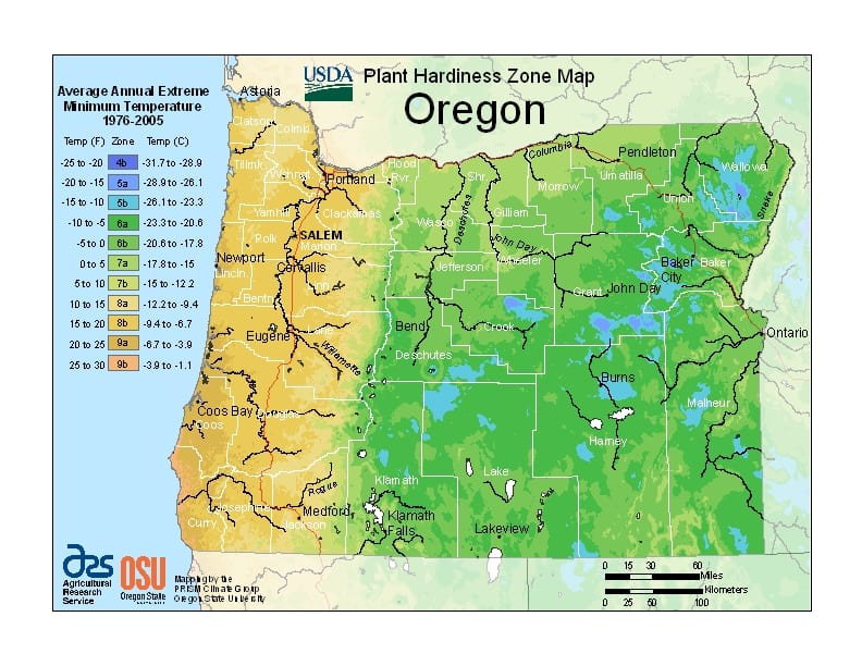 Oregon hardiness zone map